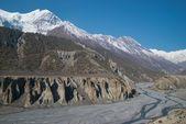 Fiume marsyangdi, tibet. — Foto Stock