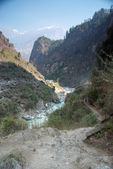 Marsyangdi river and Annapurna mountain — Stock Photo