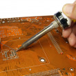 Stock Photo: Soldering in progress