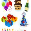 Stock Vector: Birthday objects