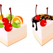 Cakes with fruit — Stock Vector