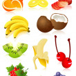Stock Vector: Fruit set