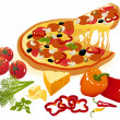 Royalty-Free Stock Vector Image: Pizza and vegetables