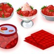 Strawberry desserts - Stok Vektör