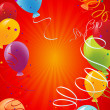 Red celebration background with balloons — Vector de stock