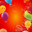 Red celebration background with balloons — 图库矢量图片