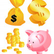 Stock Vector: Money symbols