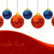 Christmas balls with ornament — Imagen vectorial
