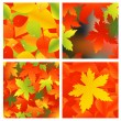 Stock Vector: Autumnal background set