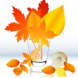 Stock Vector: Autumnal leaf in glass