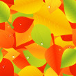 Bright autumnal leaf background with dew - Stock Vector