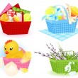 Stock Vector: Easter baskets