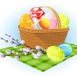Easter eggs in the basket — Stock Vector