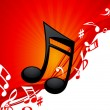 Red note music background — Vettoriali Stock