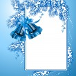 Frame with christmas bells blue color — Stock Vector