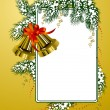 Frame with christmas bells gold color — Stock Vector