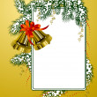 Frame with christmas bells gold color — Stock vektor