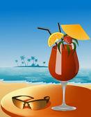 Ornamentado cocktail no bar da praia — Vetorial Stock