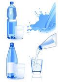 Conjunto de garrafa e copo — Vetorial Stock