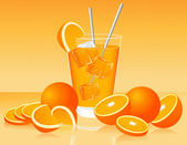 Glass of orange juice and oranges — 图库矢量图片