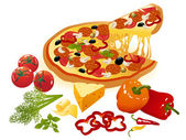 Pizza and vegetables — Stock Vector