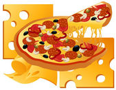 Pizza on cheese background — Stock Vector