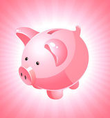 Piggy bank on pink background — Stock Vector