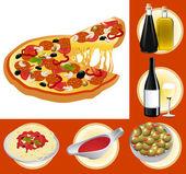 Italian food set — Stock Vector