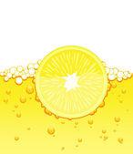 Lemon slice in the juice — Stock Vector