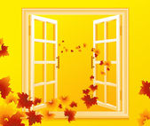 Open_autumnal_window — Stock Vector