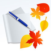 Paper and autumnal leaf — Stock Vector
