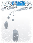 Footsteps and snowfall in the winter — Stock Vector