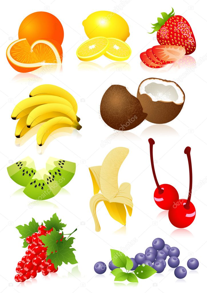 Fruit set,  vector illustration, EPS and AI files included — ベクター素材ストック #1637395