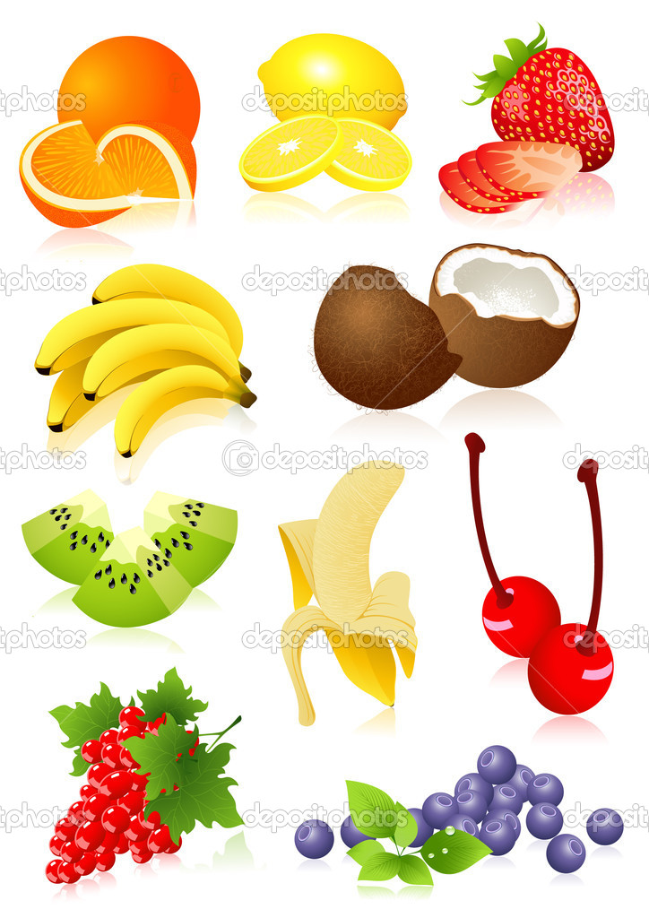 Fruit set,  vector illustration, EPS and AI files included  Imagens vectoriais em stock #1637395
