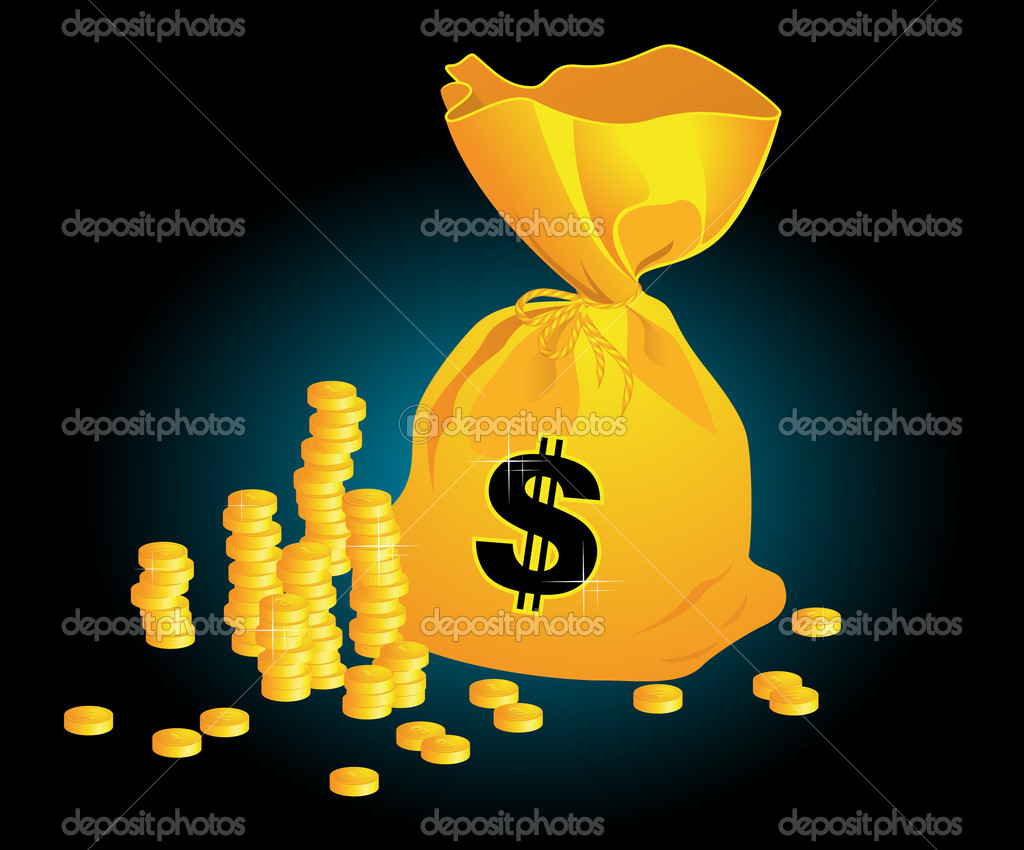 Moneybag on black background, vector illustration, EPS and AI files included — Stock Vector #1637613