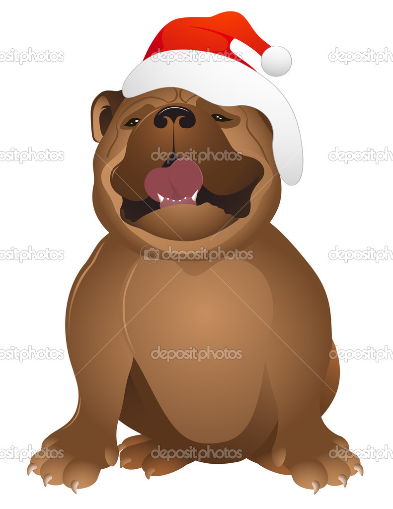 Buldog with Santa Claus hat, vector illustration, EPS and AI files included — Stock Vector #1638422
