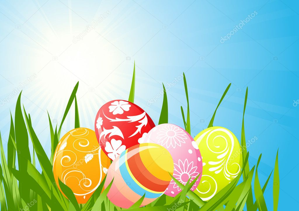 Easter eggs on the grass, vector illustration, EPS and AI files included — Stock Vector #1638445