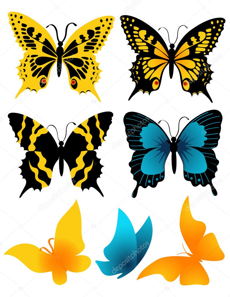Butterflies, vector illustration, EPS and AI files included  Stock Vector #1638450