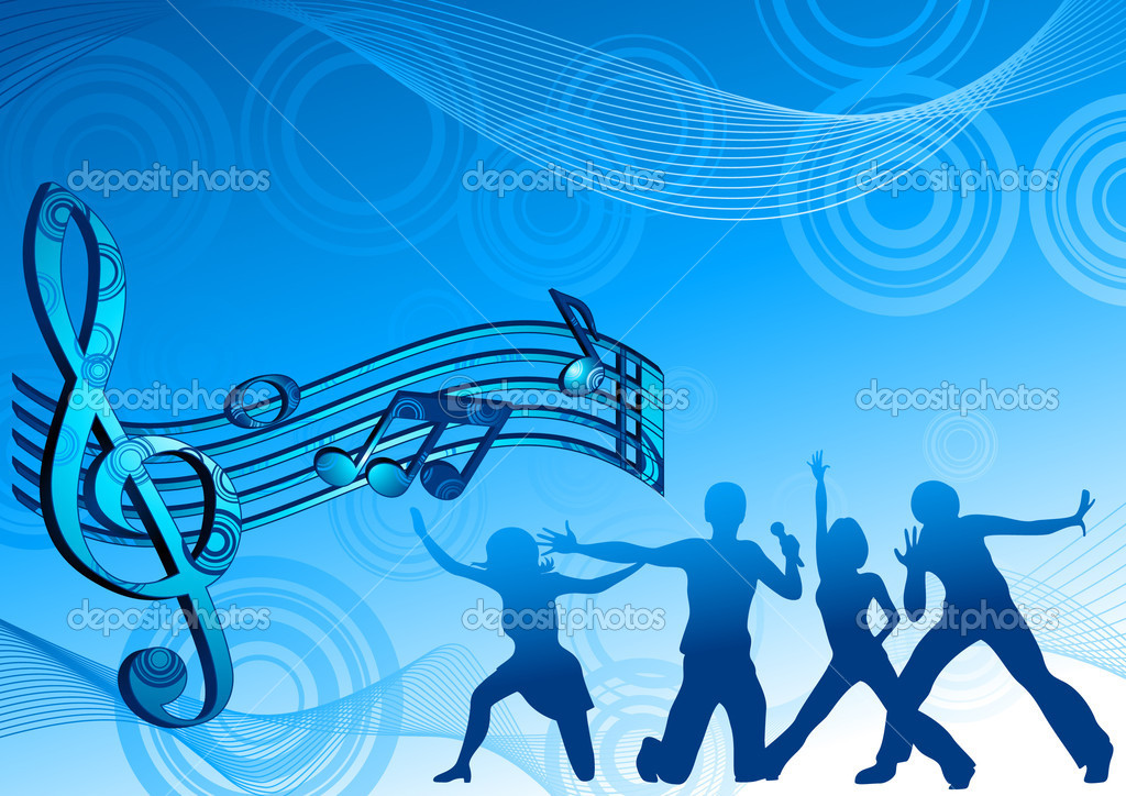 Music dance background blue color, vector illustration, EPS and AI files included  Stock Vector #1638486
