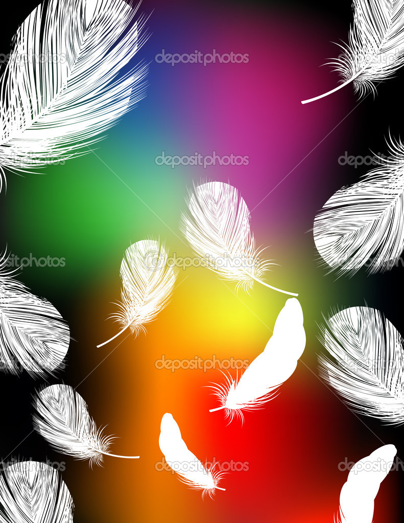 Rainbow color feather background, vector illustration, EPS and AI files included — Stock Vector #1638529