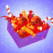 Christmas box with candies - Stock Vector