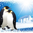 Penguins and snowflake frame — Vector de stock