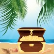 Stock Vector: Money trunk on beach