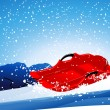 Red sledge on the slope — Imagen vectorial