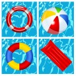 Toys in the swimming pool — Stock Vector