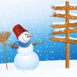 Snowman and arrow - Stock Vector