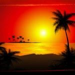 Tropical beach sunset — Stock Vector