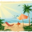 Tropical_beach_with_sunshade — Stock Vector