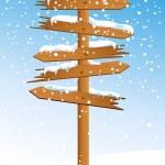 Winter arrow with snowfall — Stock Vector