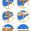 Stock Vector: Winter direction sign icons